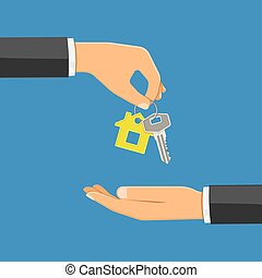 purchase or rental real estate concept - hand giving home...