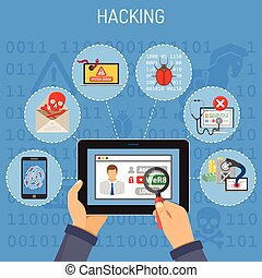 Internet Security and Hacking concept