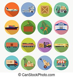 Cargo Transport and logistics Icon Set - Cargo Transport,...