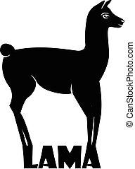 Animal logo Lama, Lama silhouette isolated on white...