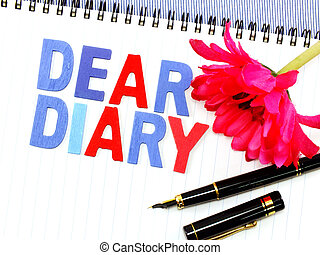 dear diary word on white paper notebook concept background