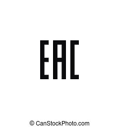 Eurasian conformity symbol on white background - Eurasian...