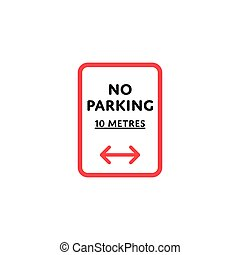 No parking to left and right roadsign isolated - No parking...