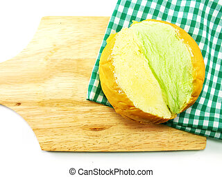 top view of slices bread with butter on a rustic wooden...