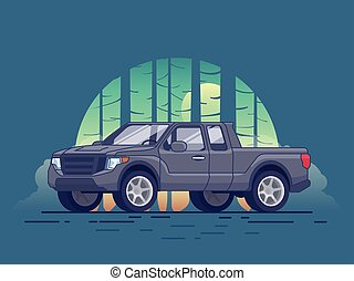 Gray Pickup Truck Concept - Gray pickup truck concept of...
