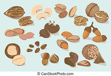 Colorful Natural Organic Nuts Collection - Colorful natural...