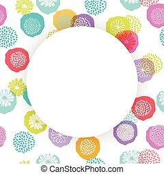Vector circle frame on seamless floral pattern with doodle flowers.