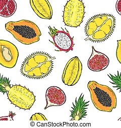 Pattern of exotic fruits. On a wight background. Seamless.