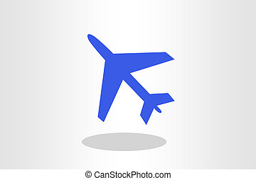 Illustration of blue airplane against plain background
