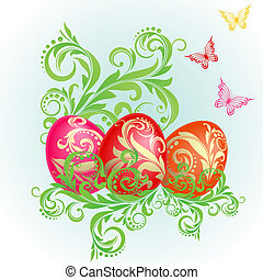 Easter background with eggs decorated with golden ornaments...
