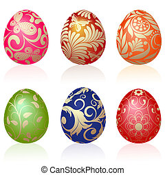 Easter eggs - Set of six Easter eggs with gold ornaments