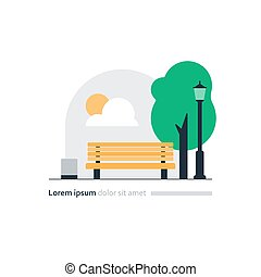 Park bench with tree and lantern, cozy place for rest, city square