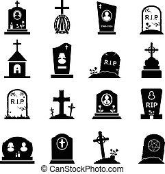 Gravestones and tombstones icons set