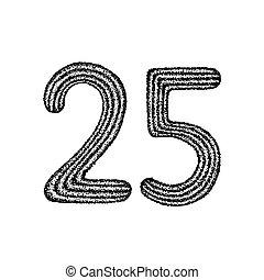 Dotwork Twenty Five. Vector Illustration of 25 Number...