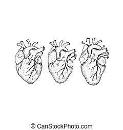 Dotwork Three Human Hearts. Vector Illustration of Hipster...