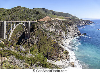 bridge at Highway 1 on the pacific coast, California - bixby...