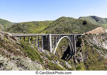 bridge at Highway 1 on the pacific coast, California