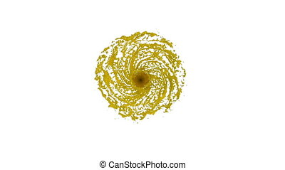yellow Liquid tornado. Beautiful colored paint whirl. Isolated transparent vortex of liquid like whirlwind 3d animation with alpha matte. Version 7