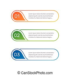 Infographic colorful numbers from 1 to 3 and text columns...
