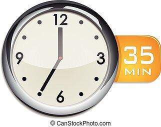 office wall clock timer 35 minutes vector illustration...