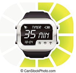 digital watch timer 35 minutes vector illustration isolated...