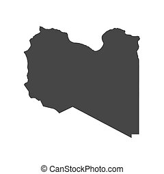 Libya map silhouette on the white background. Vector...