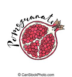 The cut fruit of pomegranate on a white background with the...