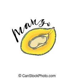 The cut fruit of mango on a white background with the word...