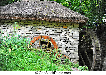 Vintage water mill - Vintage wooden water mill, Pirogovo,...