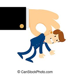 Big Hand Lifted a Tiny Businessman in The Air - Vector stock...