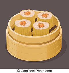 Chinese Dim Sum Steamed Shumai With Fish Roe - Vector stock...