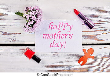 Lipstick, flowers and greeting card. - Lipstick flowers and...