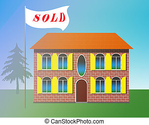 Real estate. House is SOLD. Illustration.