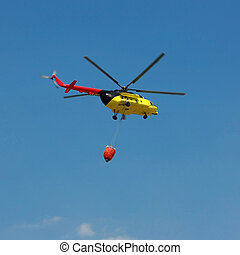 Fire rescue helicopter with water bucket - Square crop All...