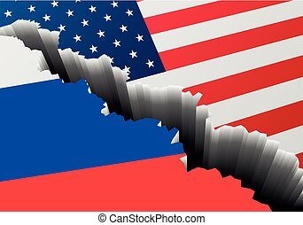 Flag USA Russia Crack - detailed illustration of the russian...