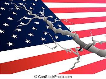 Flag USA Deep Crack - detailed illustration of the american...