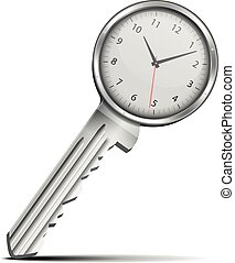 Key with clock - detailed illustration of a key with a...