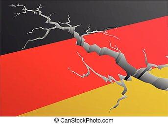 bandera, alemania, profundo, grieta