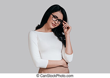 Smart and beautiful. Gorgeous young woman in smart casual...