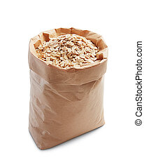 oatmeal in paper bag isolated on white