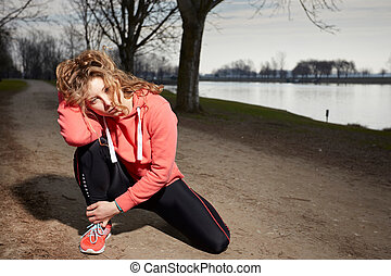 Fitness woman doing exercises Outdoor training workout