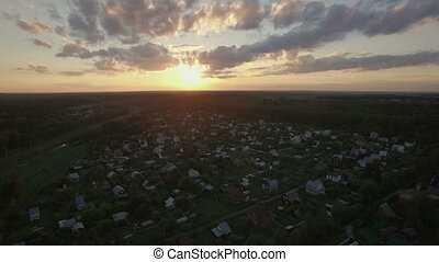 Skyline sunset and village in Russia, aerial view - Aerial...