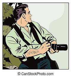 Photographer works. People in comics style