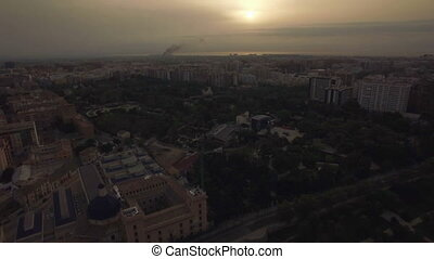 Cityscape of Valencia with houses and park, aerial view -...