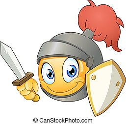 Knight emoticon holding a sword and shield