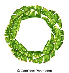 Frame with banana palm leaves. Decorative tropical foliage