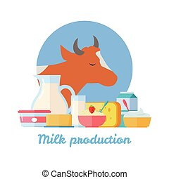 Milk Production Banner. Traditional Dairy Products -...