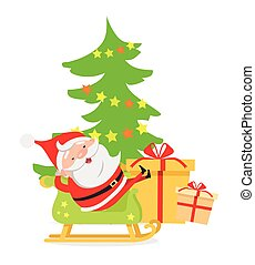 Santa Claus in Sleigh near Decorated X-mas Tree
