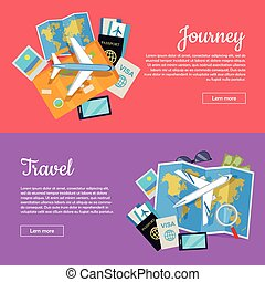 Journey and Travel Banner. Tourist Attributes - Journey and...