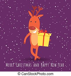 Reindeer with Gift Box Greeting. Cartoon Character